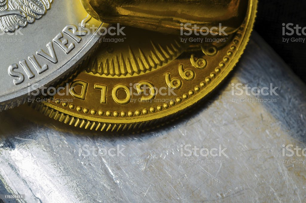 Gold and Silver Coins + Bullion stock photo