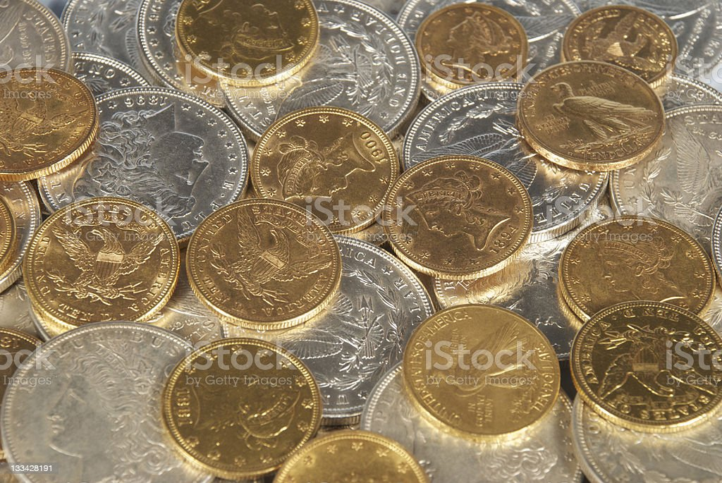 Gold and Silver Coins of the United States stock photo