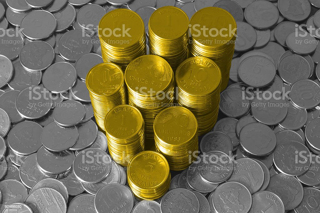 Gold and silver coins royalty-free stock photo