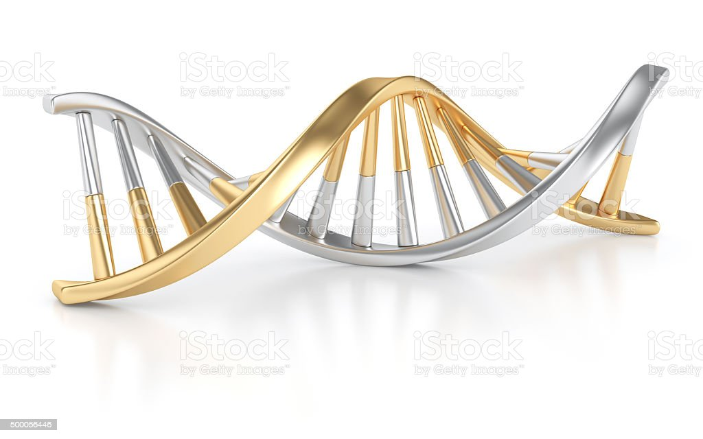 Gold and Silver DNA Structure stock photo