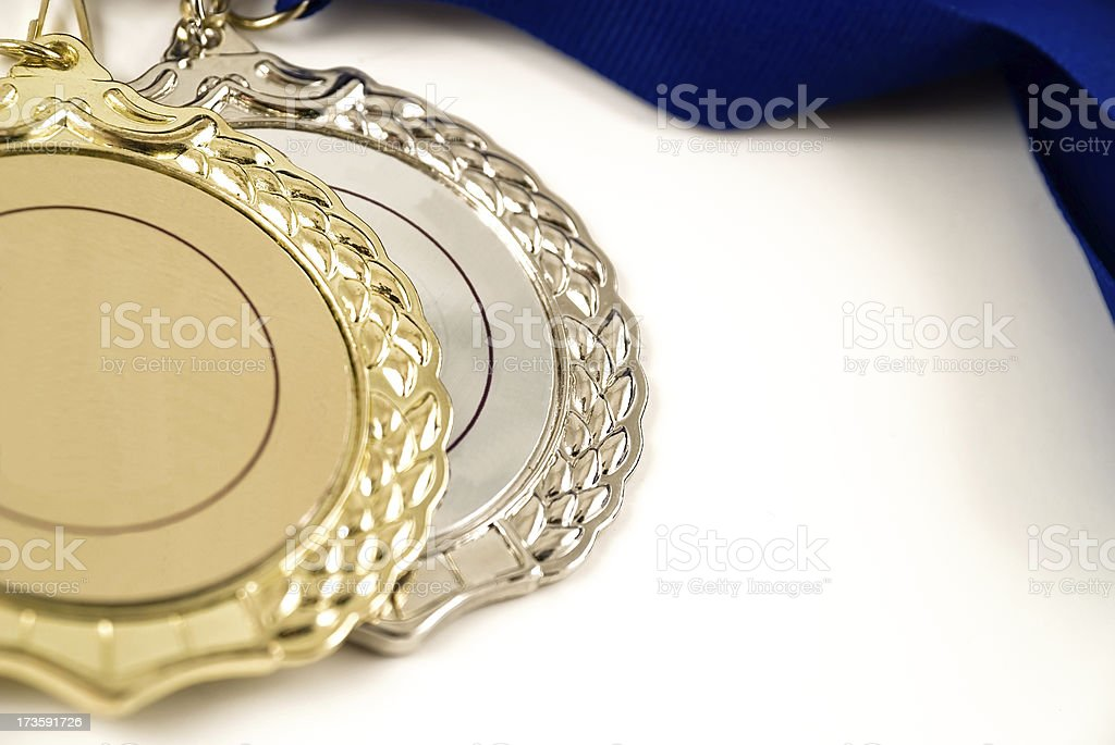 gold and silver medals royalty-free stock photo