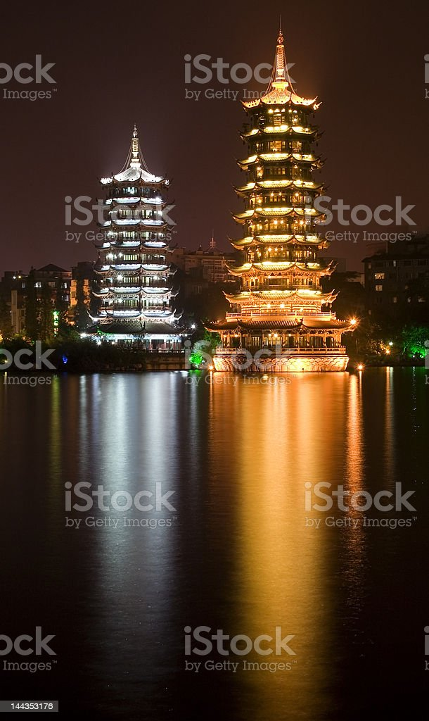 Gold and Silver Pagodas, Guilin, China with reflection royalty-free stock photo