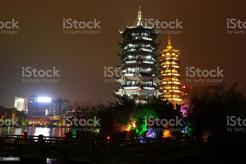 Gold and silver pagodas, Guilin stock photo