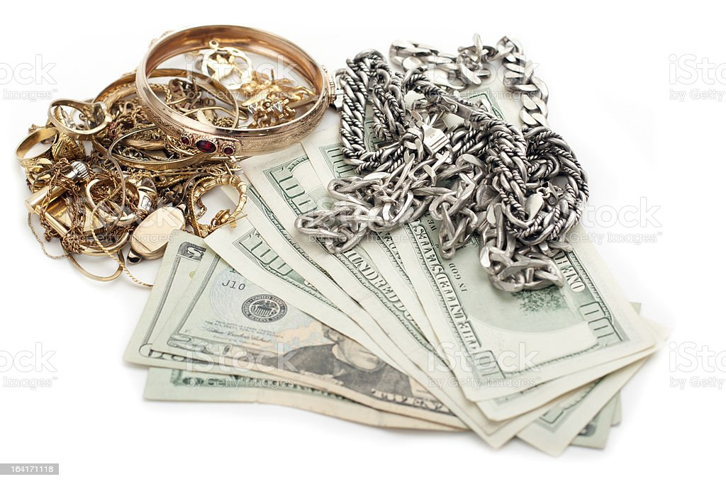 gold and silver pile scrap for cash dollar stock photo