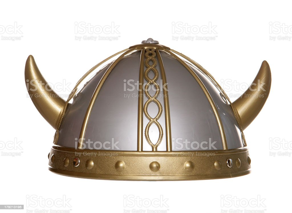 Gold and silver Viking helmet with studio cutout stock photo