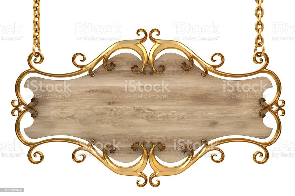 A gold And wood blank hanging sign royalty-free stock photo