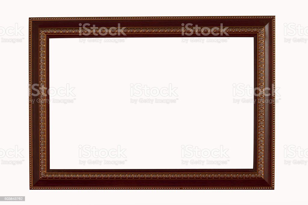 Gold and wood frame on white background stock photo