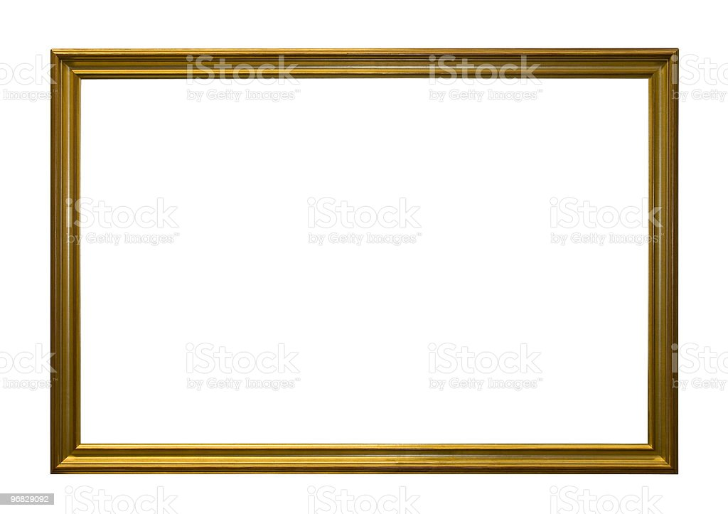 Gold antique empty picture frame stock photo