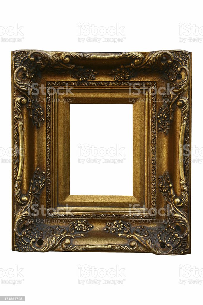 Gold antique painting frame isolated on white background royalty-free stock photo
