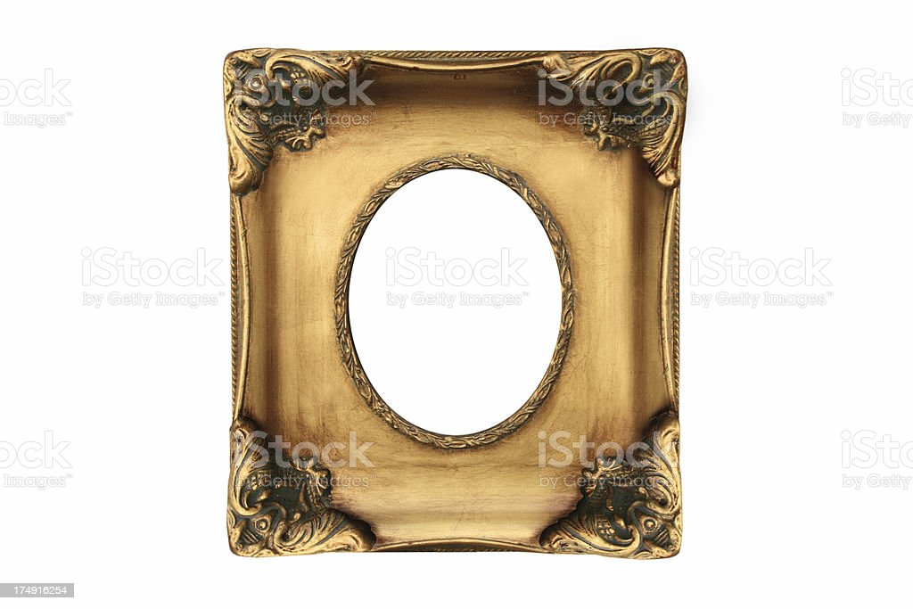 Gold antique painting frame isolated on white background stock photo