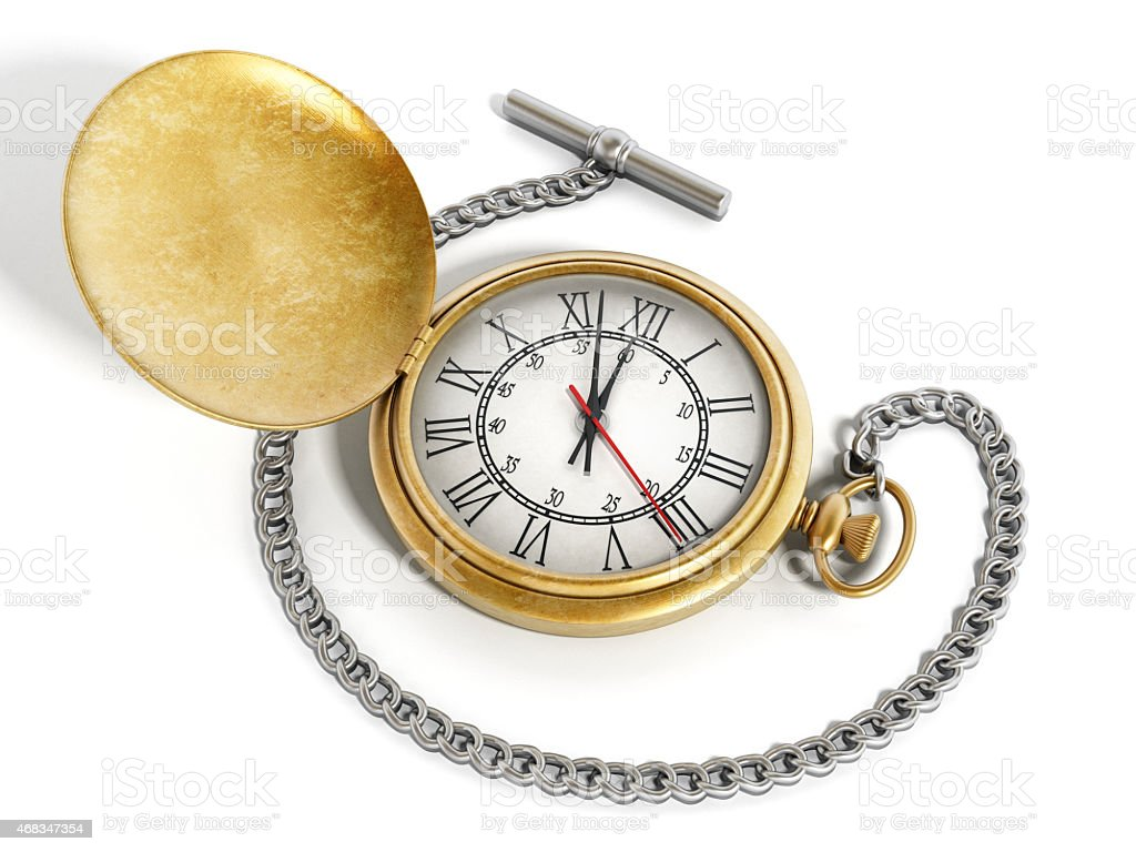 Gold antique pocket watch with silver chain stock photo