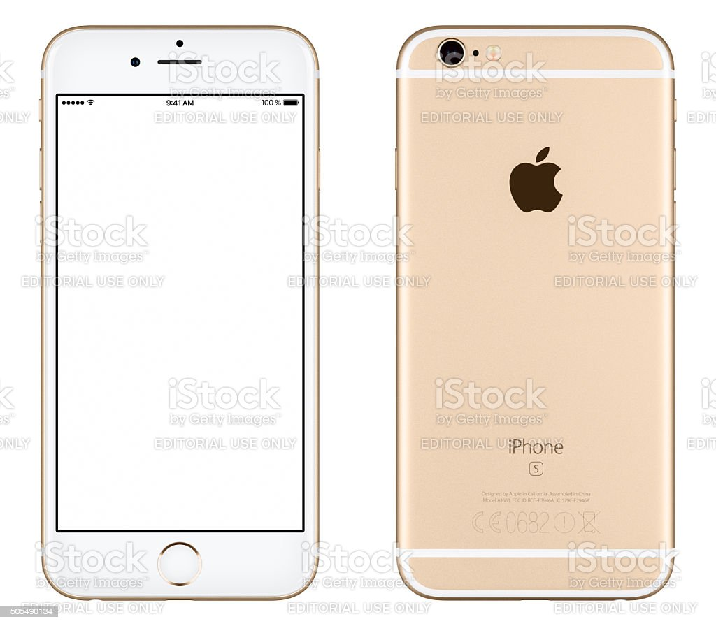 Gold Apple iPhone 6s mockup front view and back side stock photo