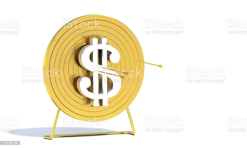 Gold Archery Target Dollar royalty-free stock photo