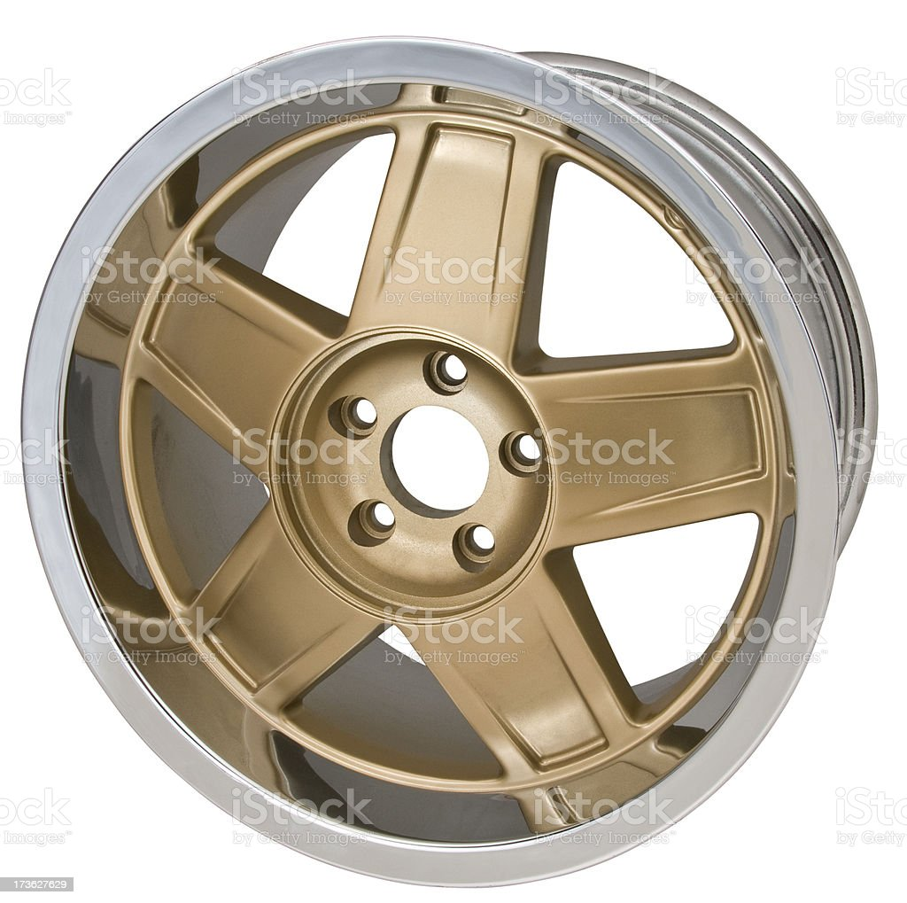 Gold Automotive Wheel royalty-free stock photo