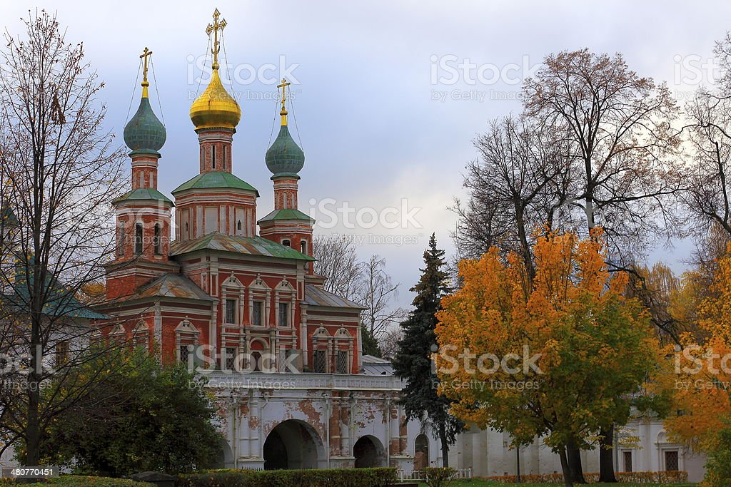 Gold autumn Novodevichy convent church in Moscow, Russia stock photo