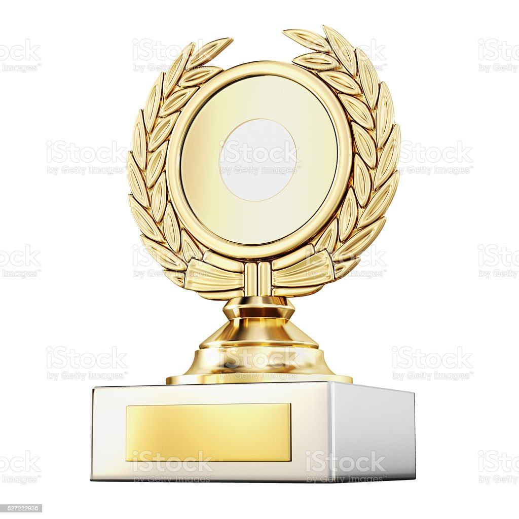 Gold award laurel wreath isolated on white background. 3d render stock photo