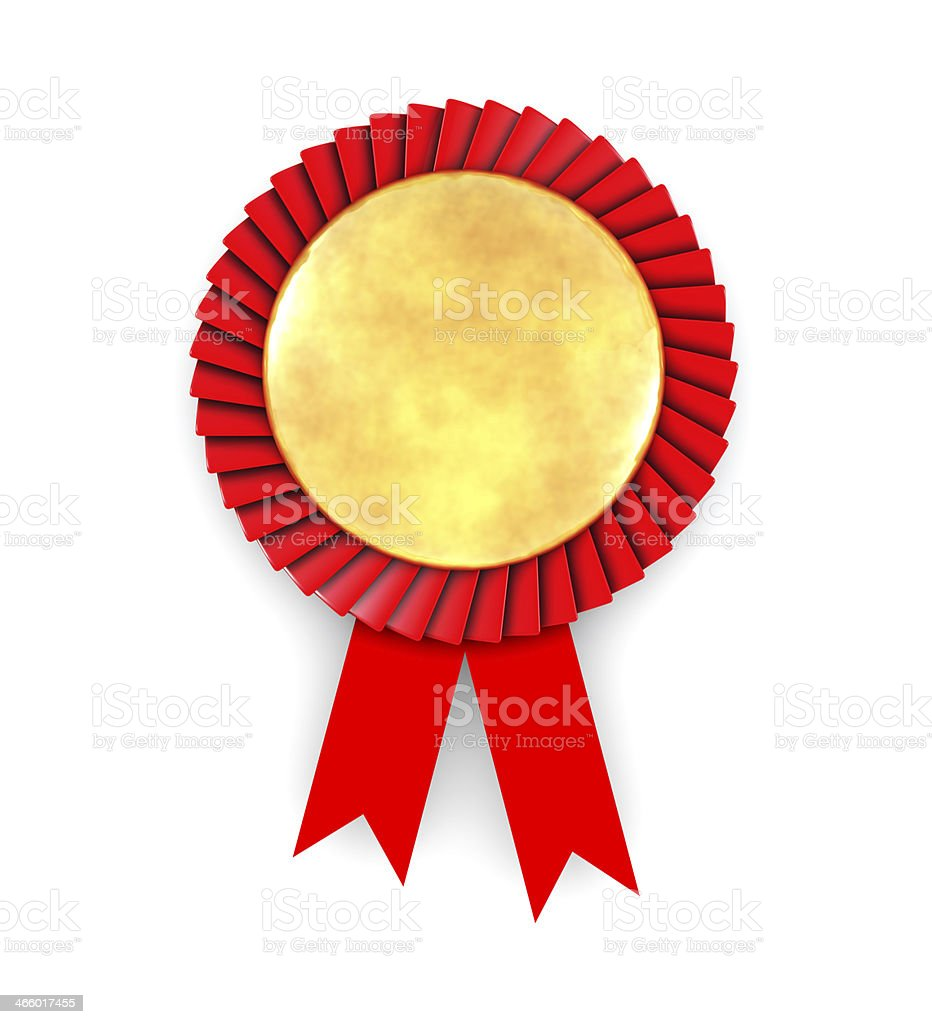 Gold award medal badge with red ribbon royalty-free stock photo