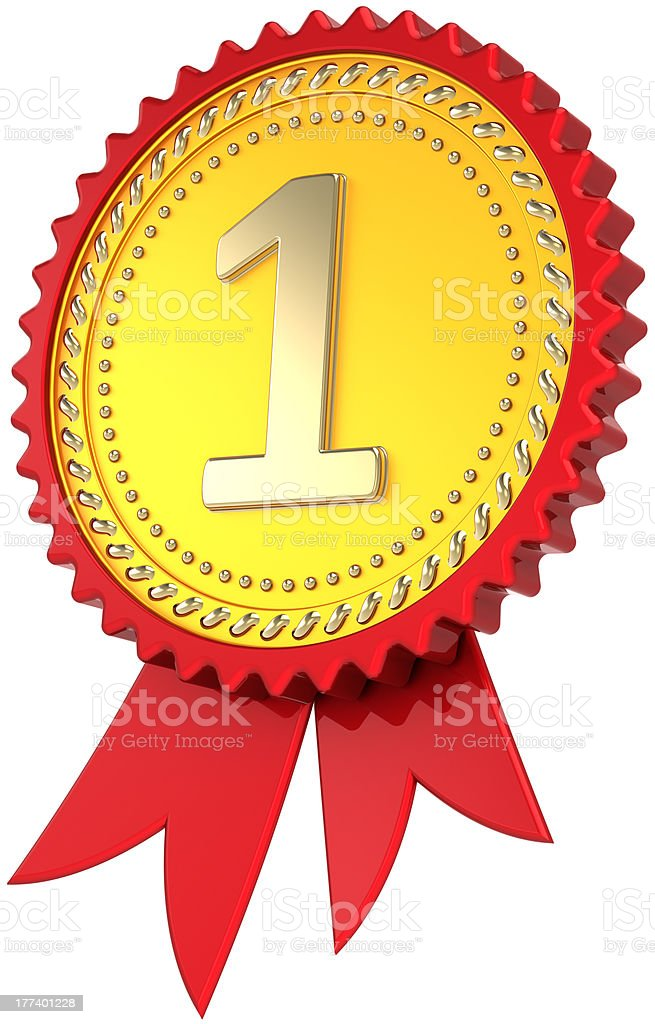 Gold award ribbon First place medal Number one champion trophy royalty-free stock photo