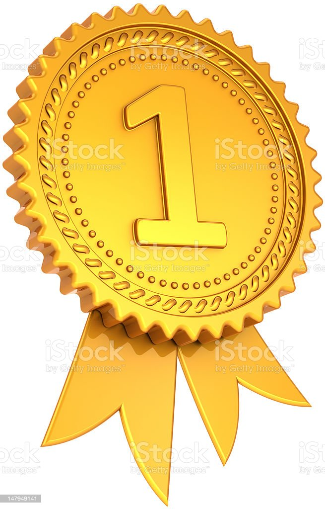 Gold award ribbon first place number one medal trophy royalty-free stock photo