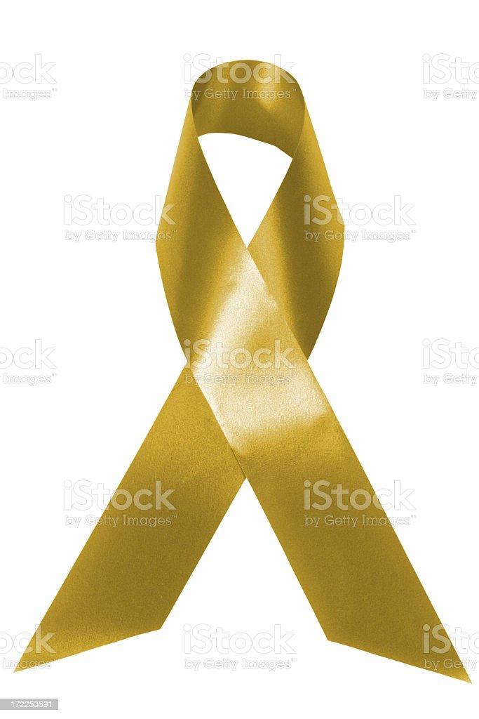 Gold awareness ribbon royalty-free stock photo