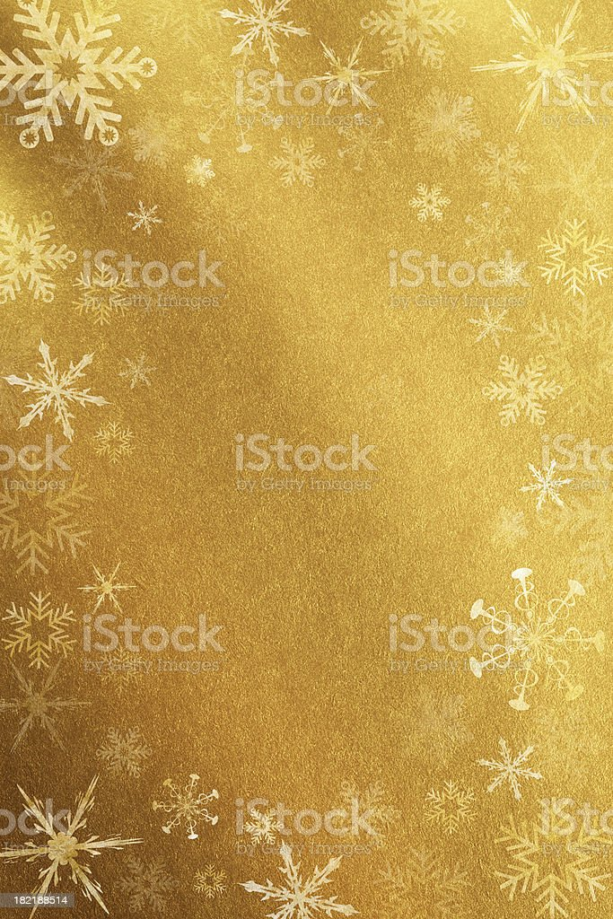 Gold Background With Snowflakes stock photo