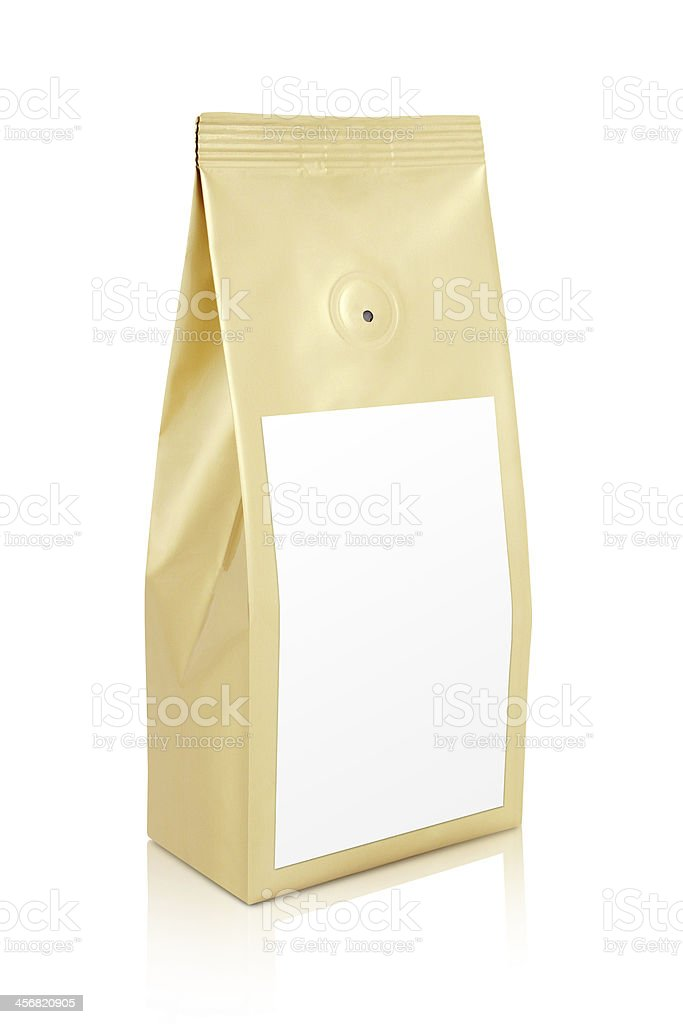 Gold bag of gourmet coffee - Stock Image stock photo