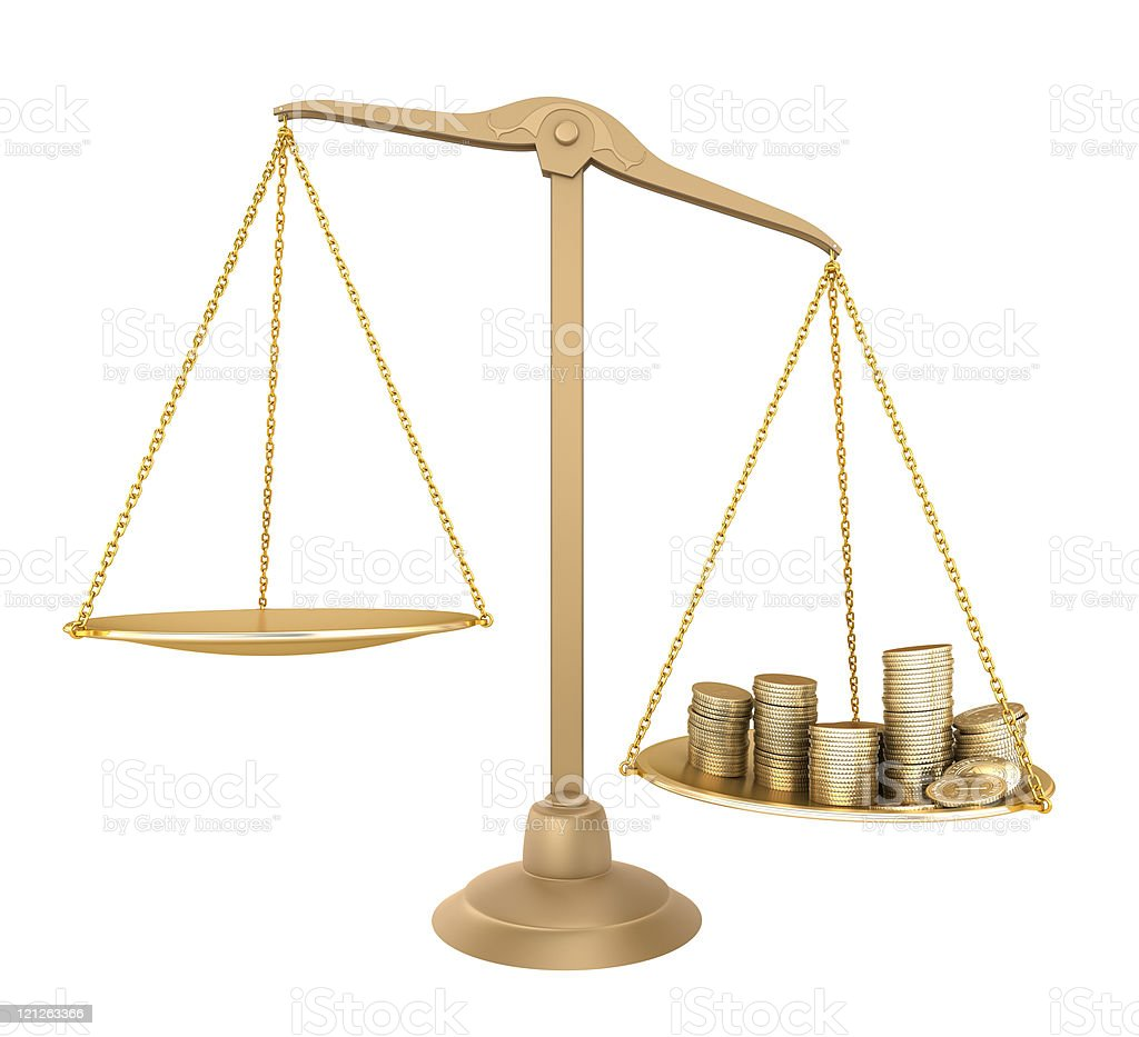 Gold balance. Something cheaper than money royalty-free stock photo