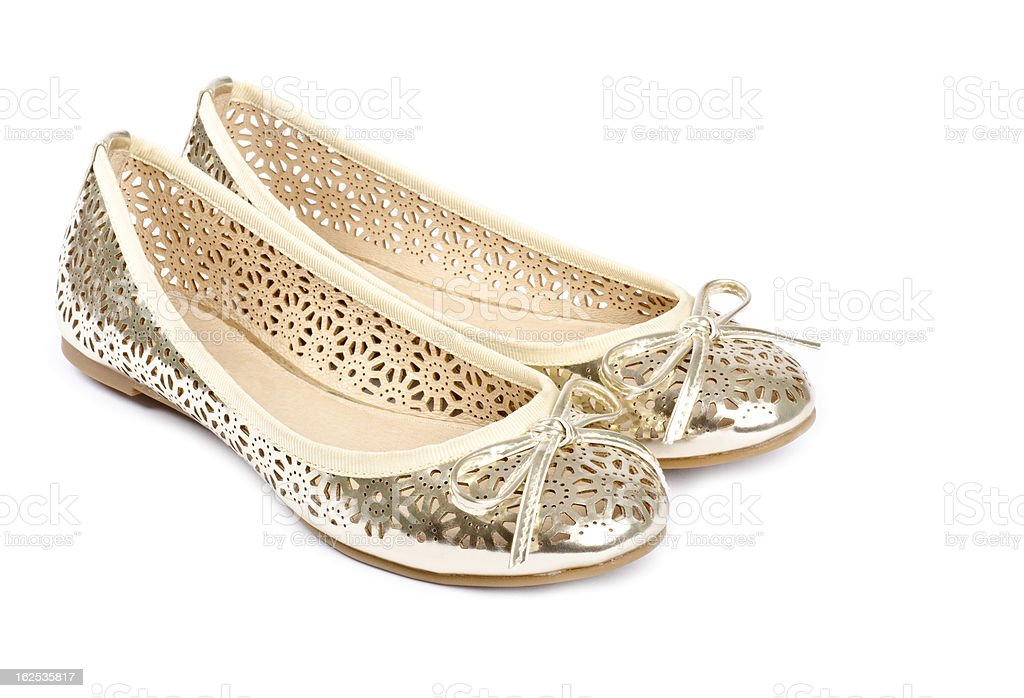Gold Ballet Slippers royalty-free stock photo