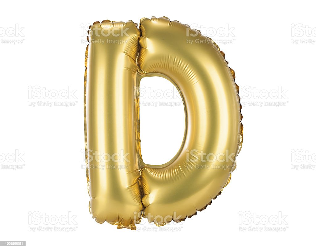 Gold balloon font part of a full set letters, D stock photo