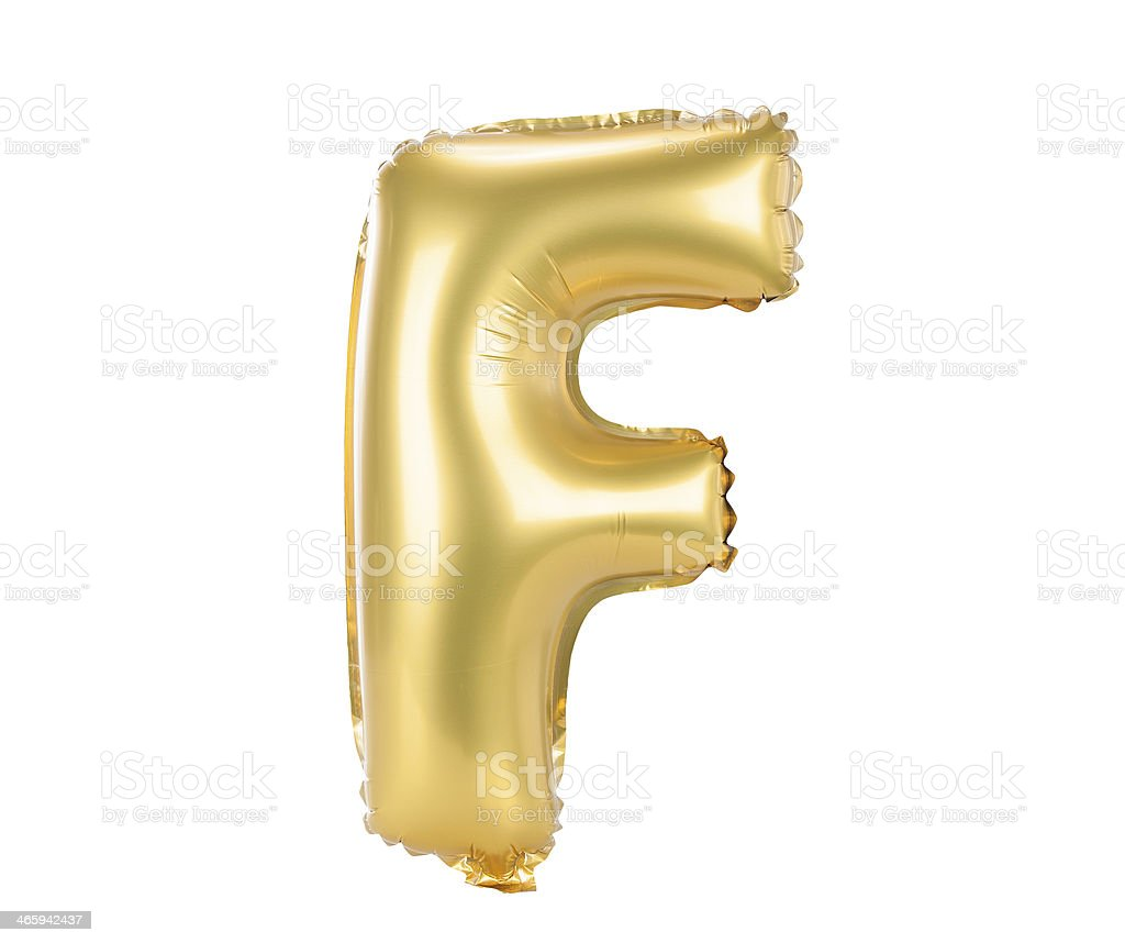 Gold balloon font upper case letter F stock photo