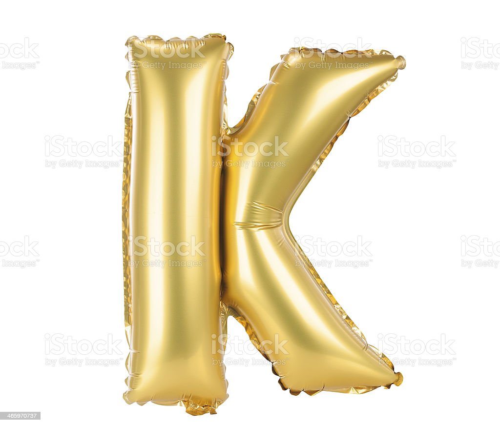 Gold balloon font upper case letters, K stock photo