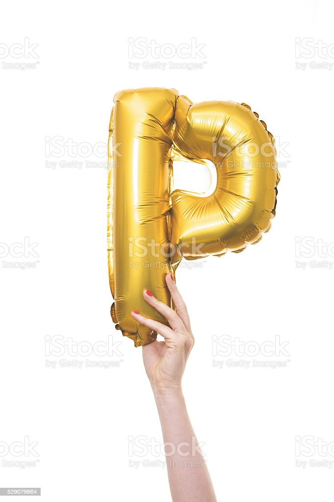 Gold balloon inflatable letter P stock photo