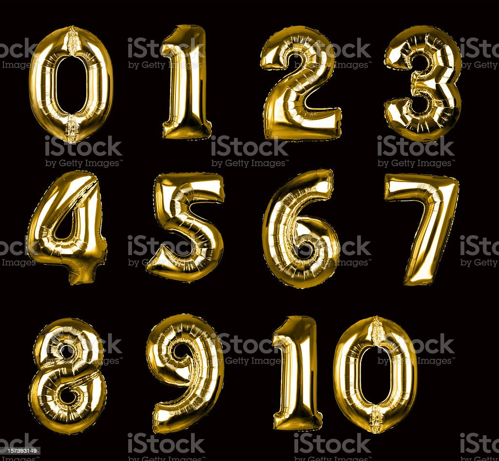 Gold Balloon Numbers 1-10 (+clipping paths, XXL) stock photo