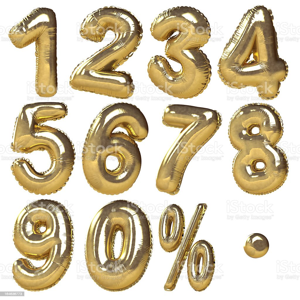 Gold Balloon Numbers 1-10 stock photo