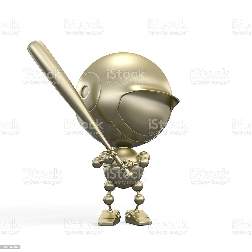 gold ballplayer with bat stock photo