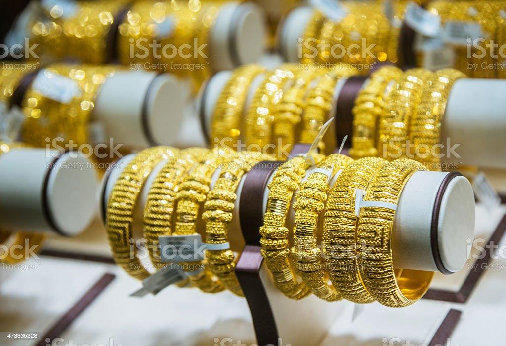 Gold bangles in a Dubai gold shop stock photo