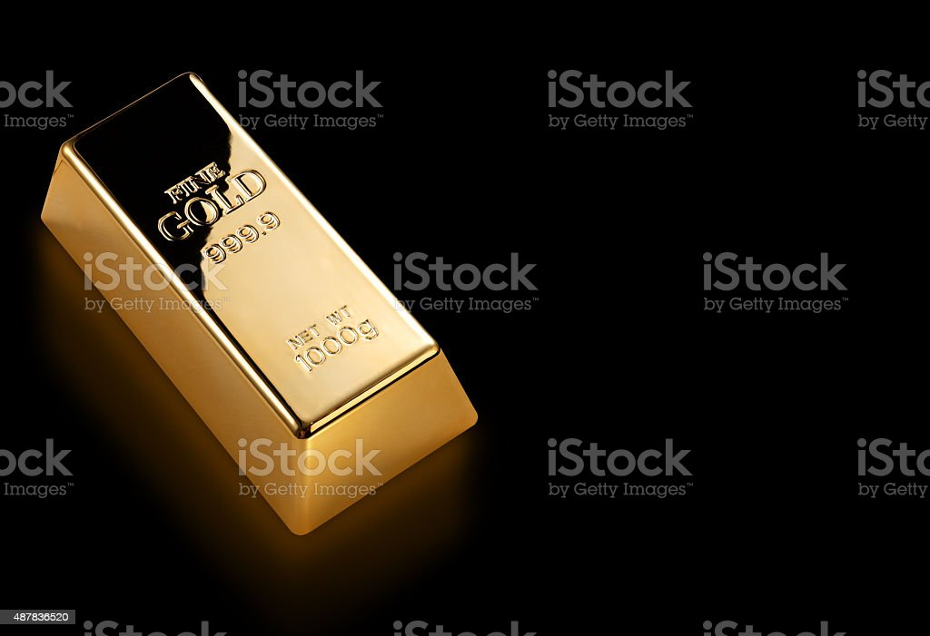 Gold bar isolated with clipping path stock photo