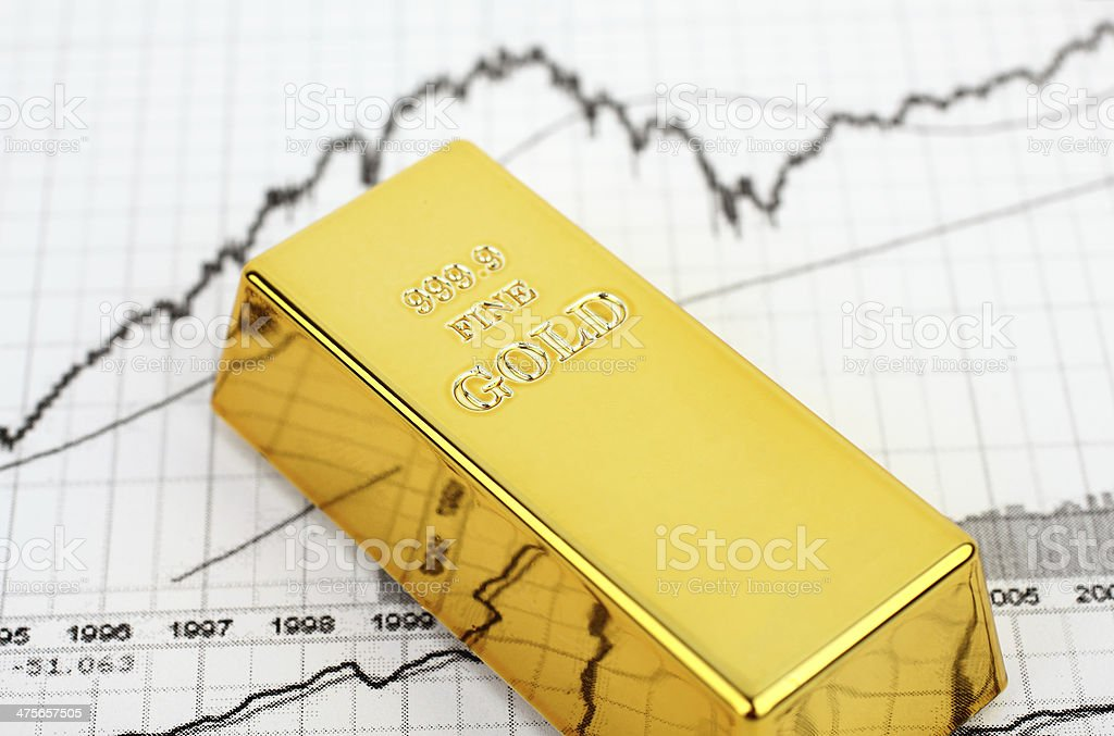 Gold bar on the financial graph stock photo