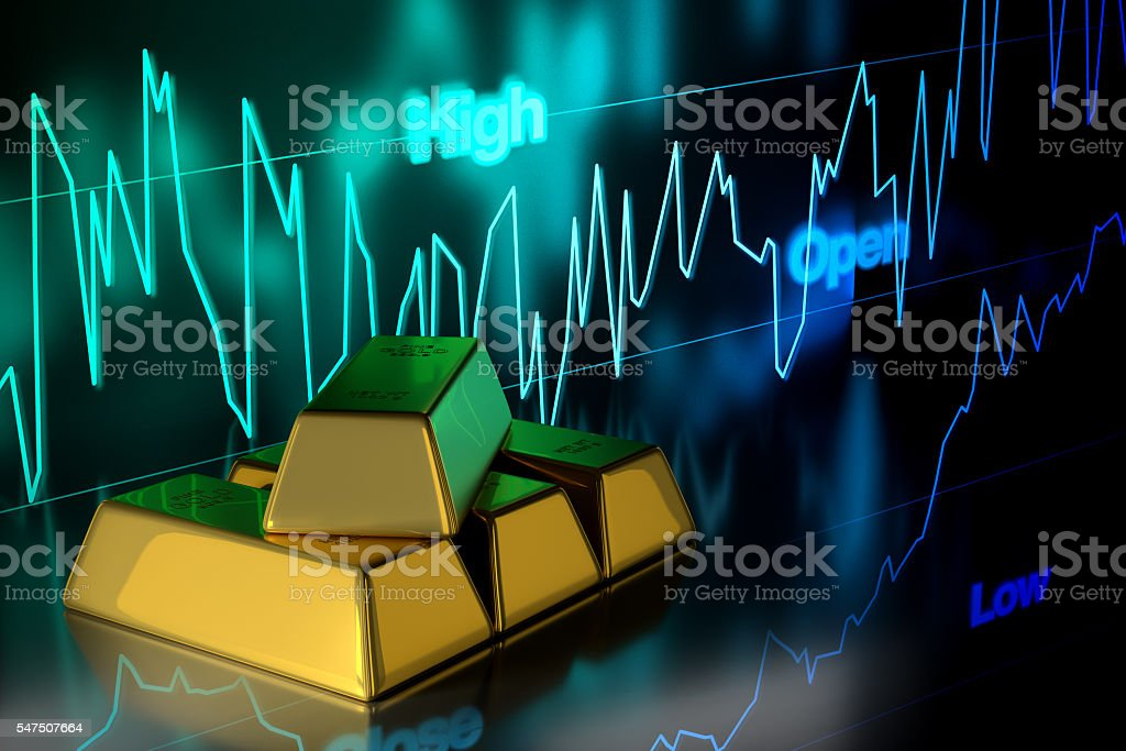 Gold Bar with Gold Price Chart Background, 3D Rendering stock photo