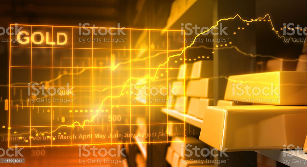 Gold bars and stock market stock photo