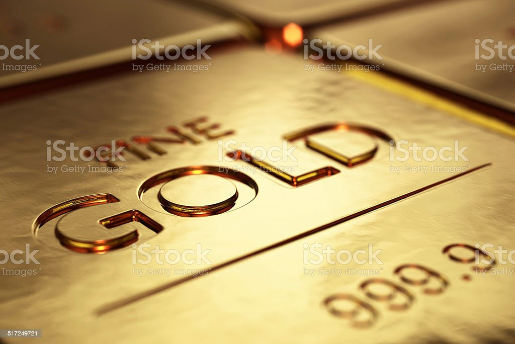 Gold Bars Close-up stock photo