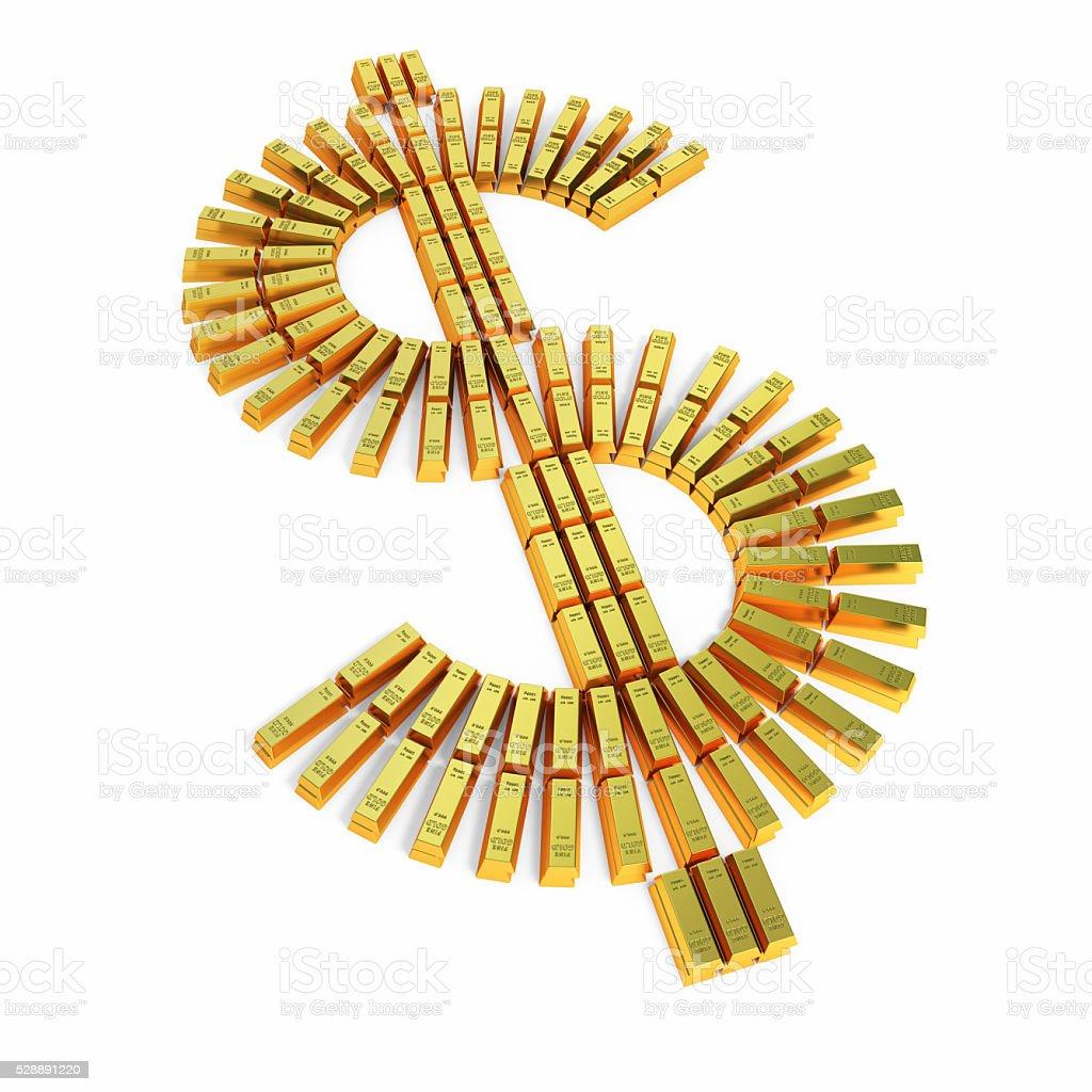 Gold bars of dollar shape stock photo