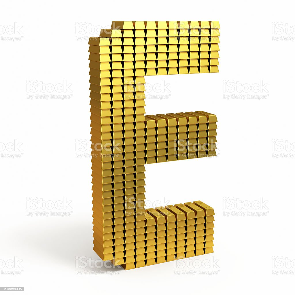 Gold Bars of text shape stock photo