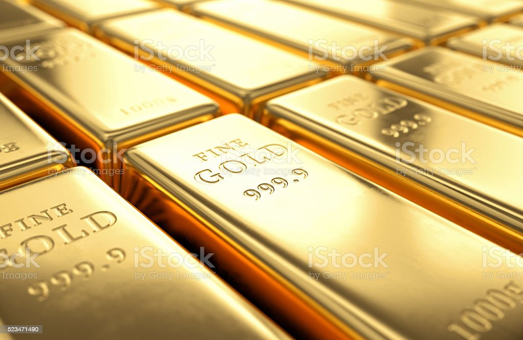 Gold bars stack stock photo