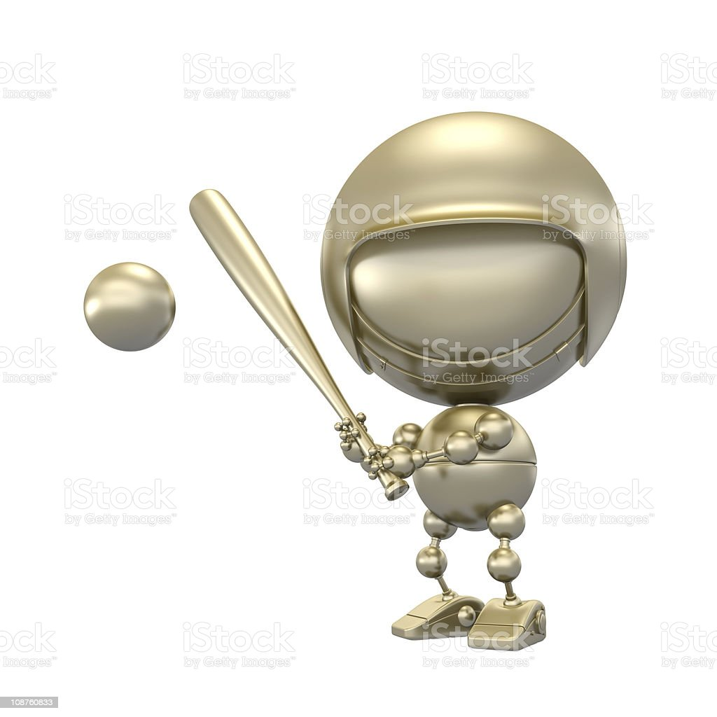 Gold baseball player beats the ball stock photo
