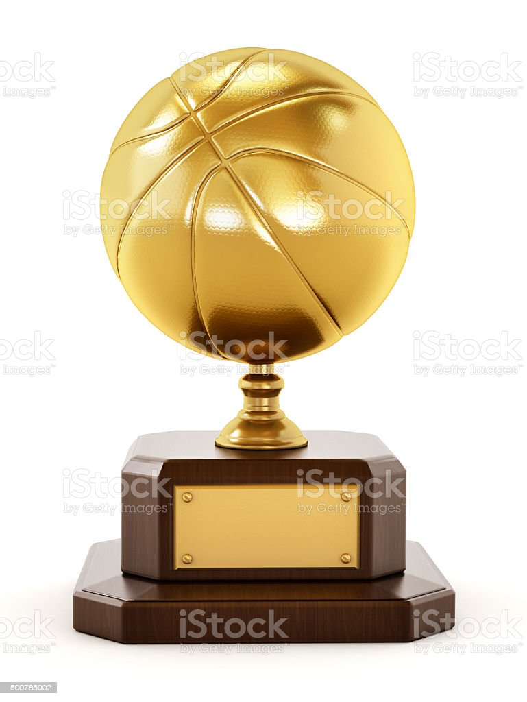 Gold basketball trophy stock photo