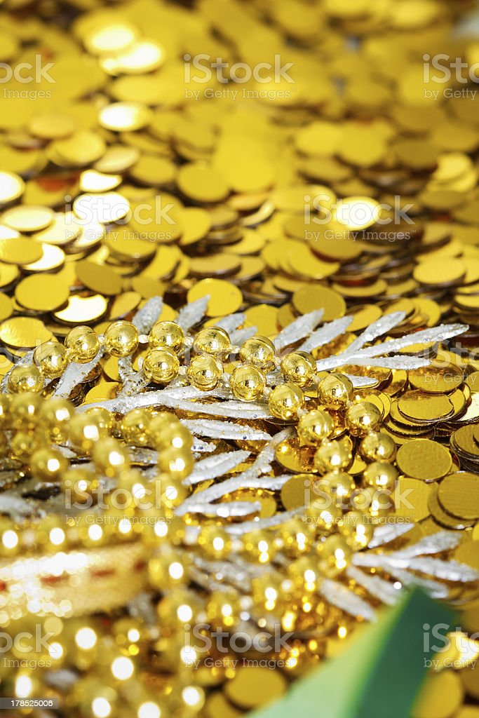 gold beads and confetti royalty-free stock photo