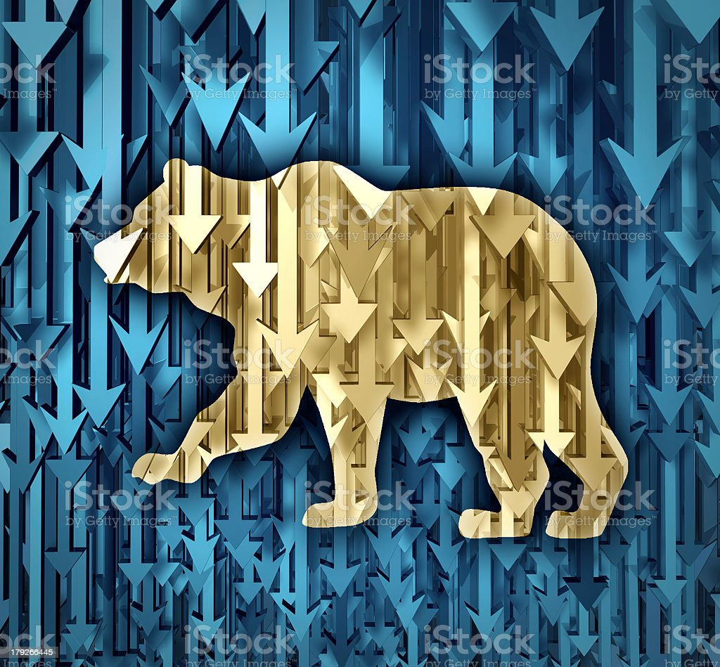 Gold bear on blue background made of downward arrows stock photo