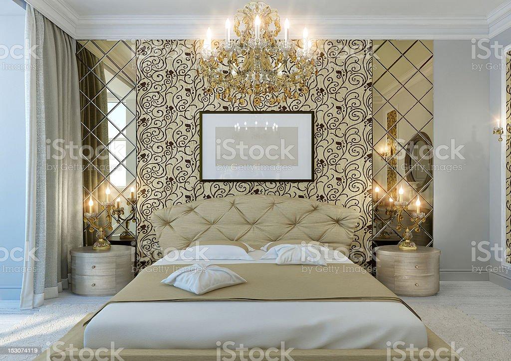 gold bedroom stock photo