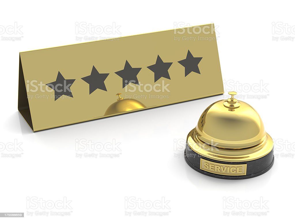 gold bell for five stars service on white royalty-free stock photo